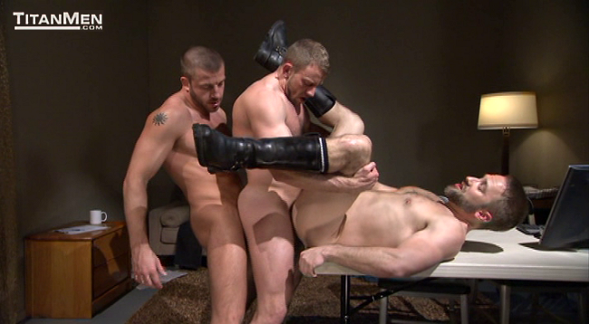 Dirk (on the table) along with Hunter Marx and Shay Michaels, from TitanMen's 'Sting'
