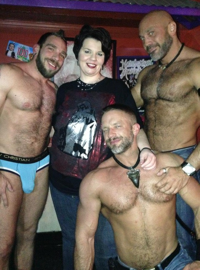 Johnny Parker, J.P. Barnaby, Dirk Caber, and me at Hamburger Mary's in Kansas City